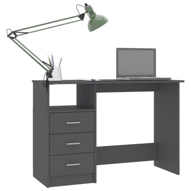"vidaXL Desk with Drawers Gray 39.3""x19.6""x29.9"" Chipboard[3/6]"