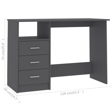 "vidaXL Desk with Drawers Gray 39.3""x19.6""x29.9"" Chipboard[6/6]"