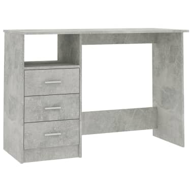 vidaXL Desk with Drawers Concrete Grey 100x50x76 cm Chipboard[2/6]