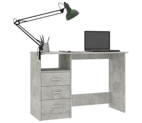 vidaXL Desk with Drawers Concrete Grey 100x50x76 cm Chipboard[3/6]