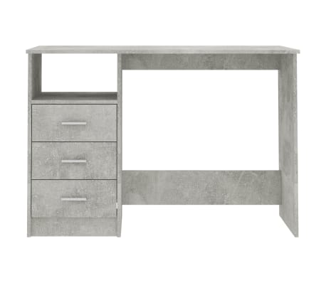 vidaXL Desk with Drawers Concrete Grey 100x50x76 cm Chipboard[4/6]