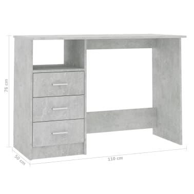 vidaXL Desk with Drawers Concrete Grey 100x50x76 cm Chipboard[6/6]