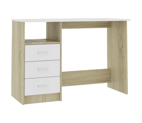 "vidaXL Desk with Drawers White and Sonoma Oak 39.3""x19.6""x29.9"" Chipboard[2/6]"