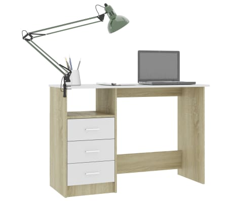 "vidaXL Desk with Drawers White and Sonoma Oak 39.3""x19.6""x29.9"" Chipboard[3/6]"