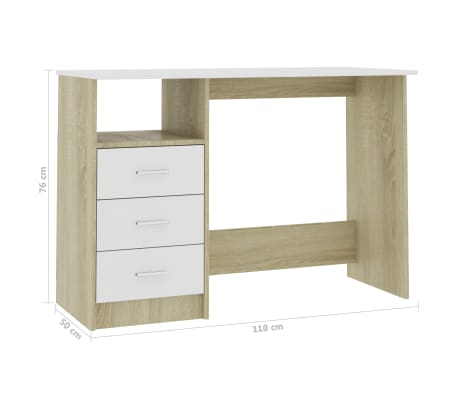"vidaXL Desk with Drawers White and Sonoma Oak 39.3""x19.6""x29.9"" Chipboard[6/6]"