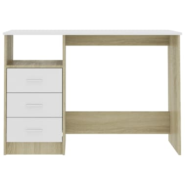 "vidaXL Desk with Drawers White and Sonoma Oak 39.3""x19.6""x29.9"" Chipboard[4/6]"
