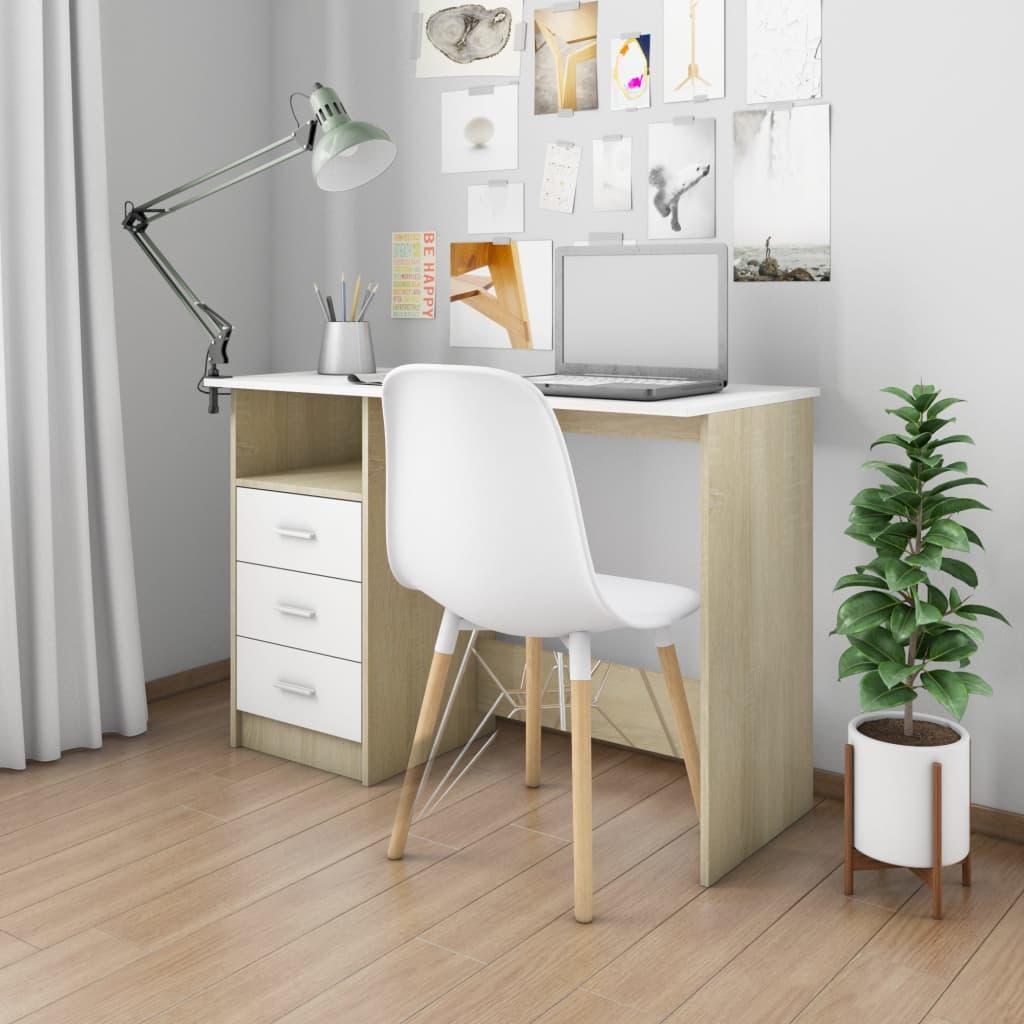 vidaXL Birou cu sertare, alb și stejar Sonoma, 110 x 50 x 76 cm, PAL poza vidaxl.ro