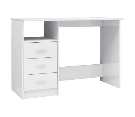 vidaXL Desk with Drawers High Gloss White 100x50x76 cm Chipboard[2/6]