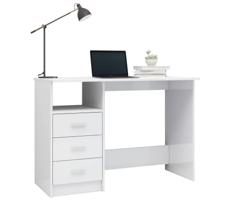 vidaXL Desk with Drawers High Gloss White 100x50x76 cm Chipboard[3/6]