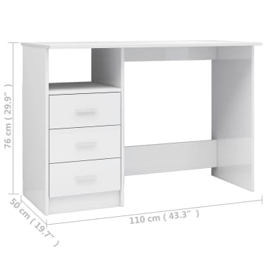 vidaXL Desk with Drawers High Gloss White 100x50x76 cm Chipboard[6/6]