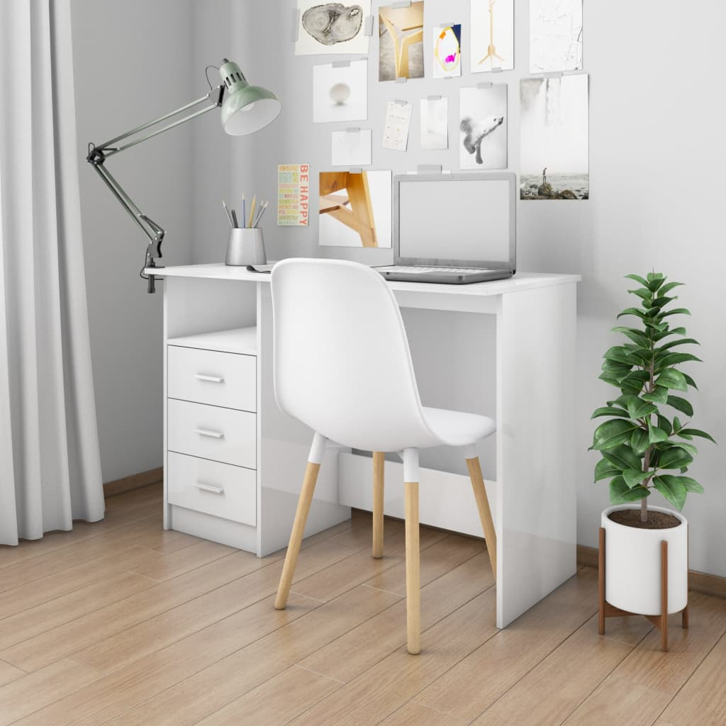 vidaXL Birou cu sertare, alb foarte lucios, 110 x 50 x 76 cm, PAL imagine vidaxl.ro