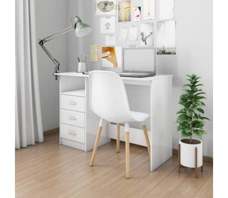 vidaXL Desk with Drawers High Gloss White 100x50x76 cm Chipboard[1/6]