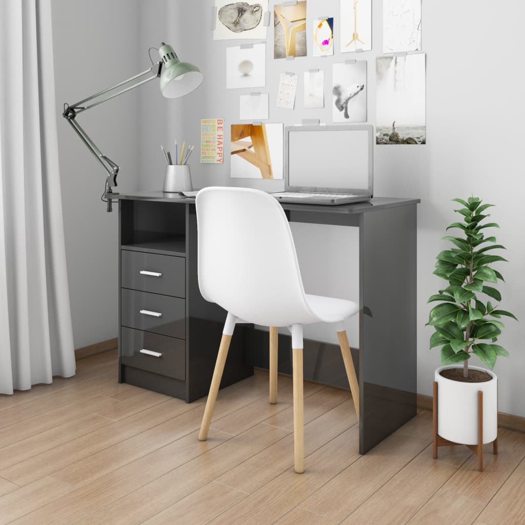 vidaXL Birou cu sertare, negru foarte lucios, 110 x 50 x 76 cm, PAL poza 2021 vidaXL