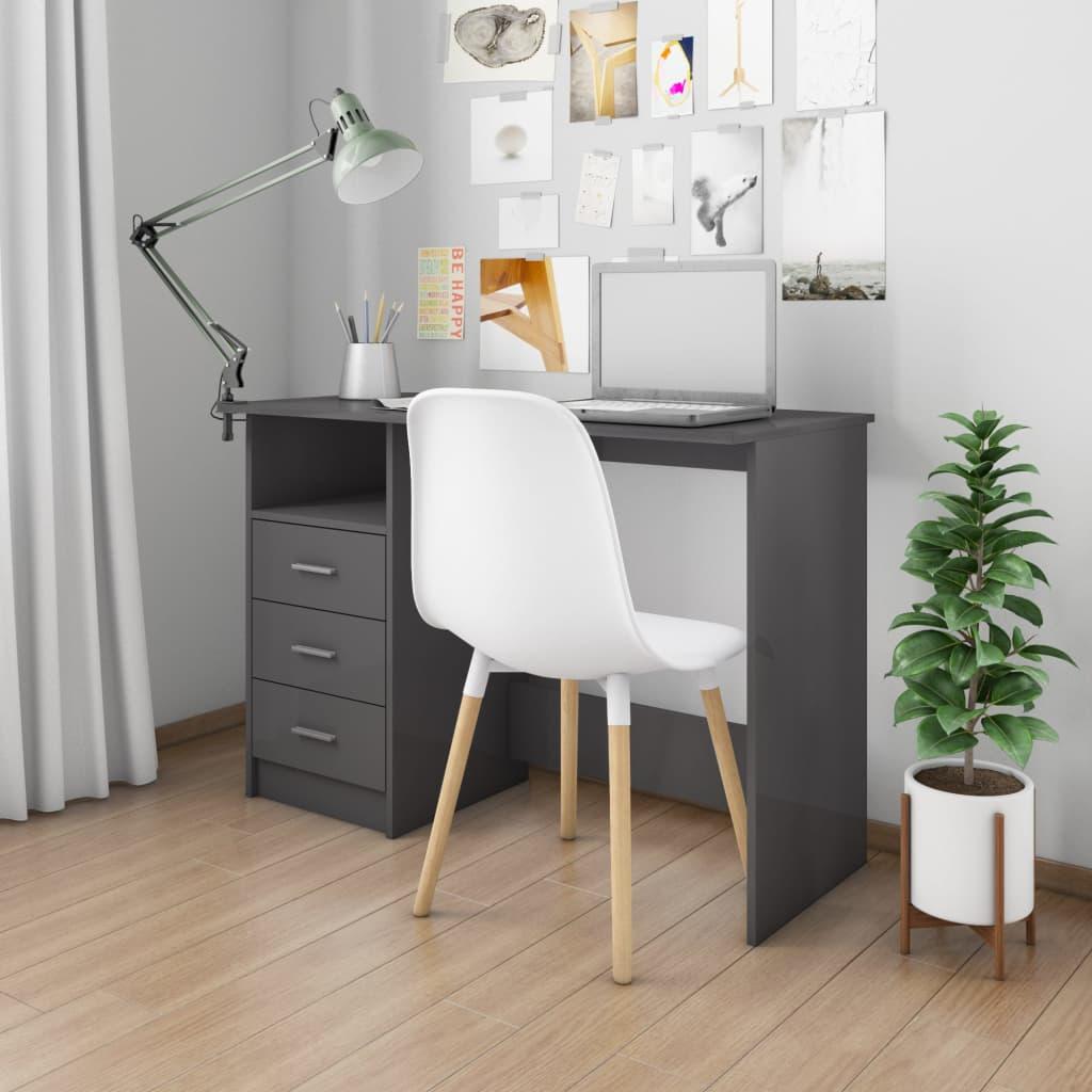 vidaXL Biurko z szufladami, wysoki połysk, szare, 100x50x76 cm
