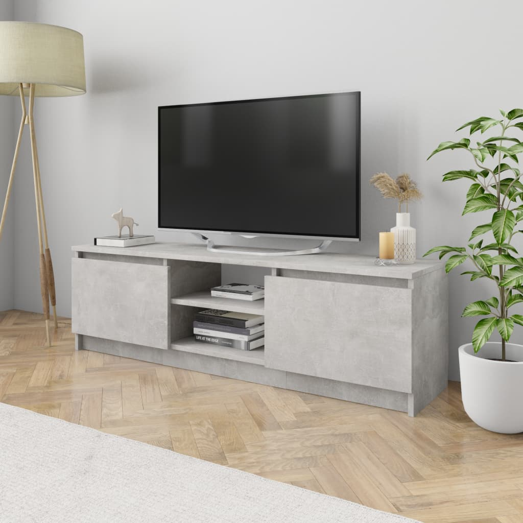 vidaXL Comodă TV, gri beton, 120 x 30 x 35,5 cm, PAL poza vidaxl.ro