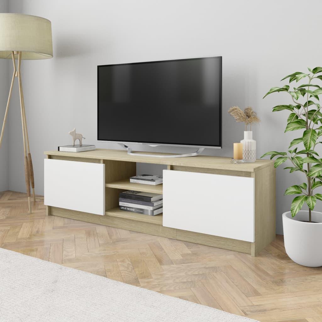 vidaXL Szafka TV, biel i dąb sonoma, 120x30x35,5 cm, płyta wiórowa