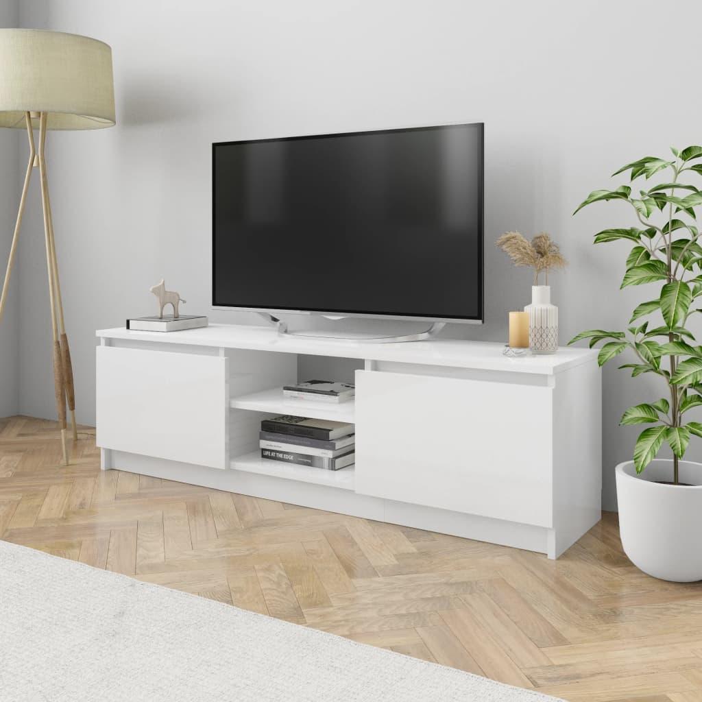 vidaXL Comodă TV, alb extralucios, 120 x 30 x 35,5 cm, PAL imagine vidaxl.ro