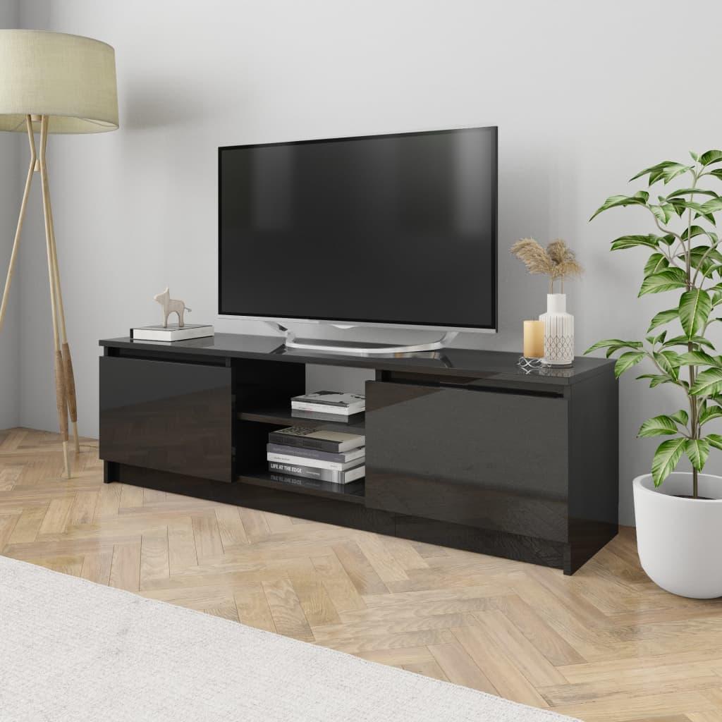 vidaXL Comodă TV, negru extralucios, 120 x 30 x 35,5 cm, PAL poza 2021 vidaXL