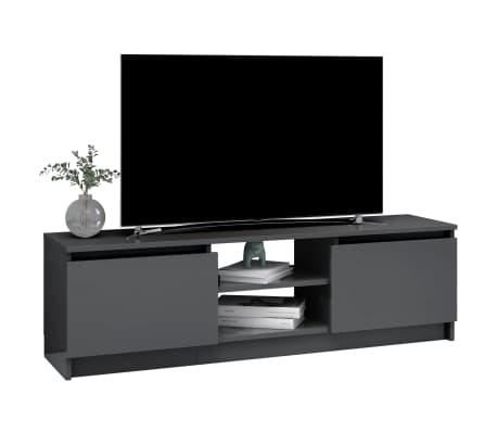 vidaXL Televizoriaus spintelė, pilka, 120x30x35,5cm, MDP, ypač blizgi[3/9]