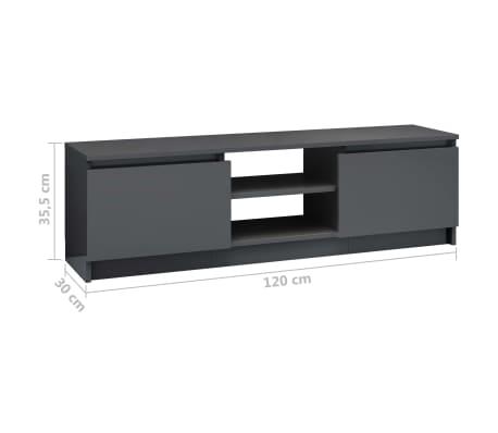 vidaXL Televizoriaus spintelė, pilka, 120x30x35,5cm, MDP, ypač blizgi[9/9]