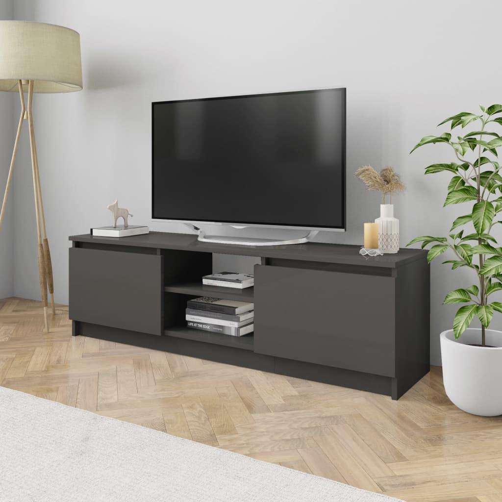 vidaXL Szafka pod TV, wysoki połysk, szara, 120 x 30 x 35,5 cm