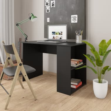 "vidaXL Desk Black 43.3""x23.6""x28.7"" Chipboard[1/6]"