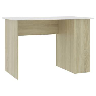 vidaXL Desk White and Sonoma Oak 110x60x73 cm Chipboard[2/6]