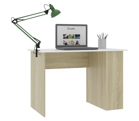 vidaXL Desk White and Sonoma Oak 110x60x73 cm Chipboard[3/6]