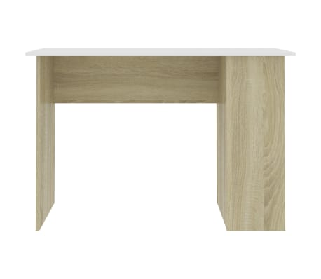 vidaXL Desk White and Sonoma Oak 110x60x73 cm Chipboard[4/6]