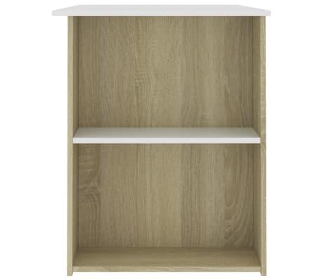vidaXL Desk White and Sonoma Oak 110x60x73 cm Chipboard[5/6]