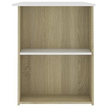 """vidaXL Desk White and Sonoma Oak 43.3""""x23.6""""x28.7"""" Chipboard[5/6]"""