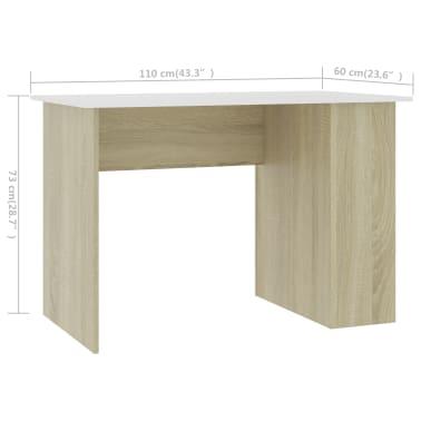 vidaXL Desk White and Sonoma Oak 110x60x73 cm Chipboard[6/6]
