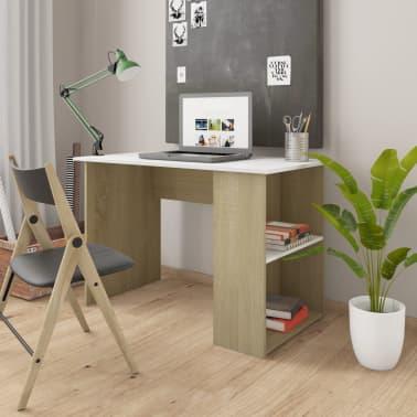 """vidaXL Desk White and Sonoma Oak 43.3""""x23.6""""x28.7"""" Chipboard[1/6]"""