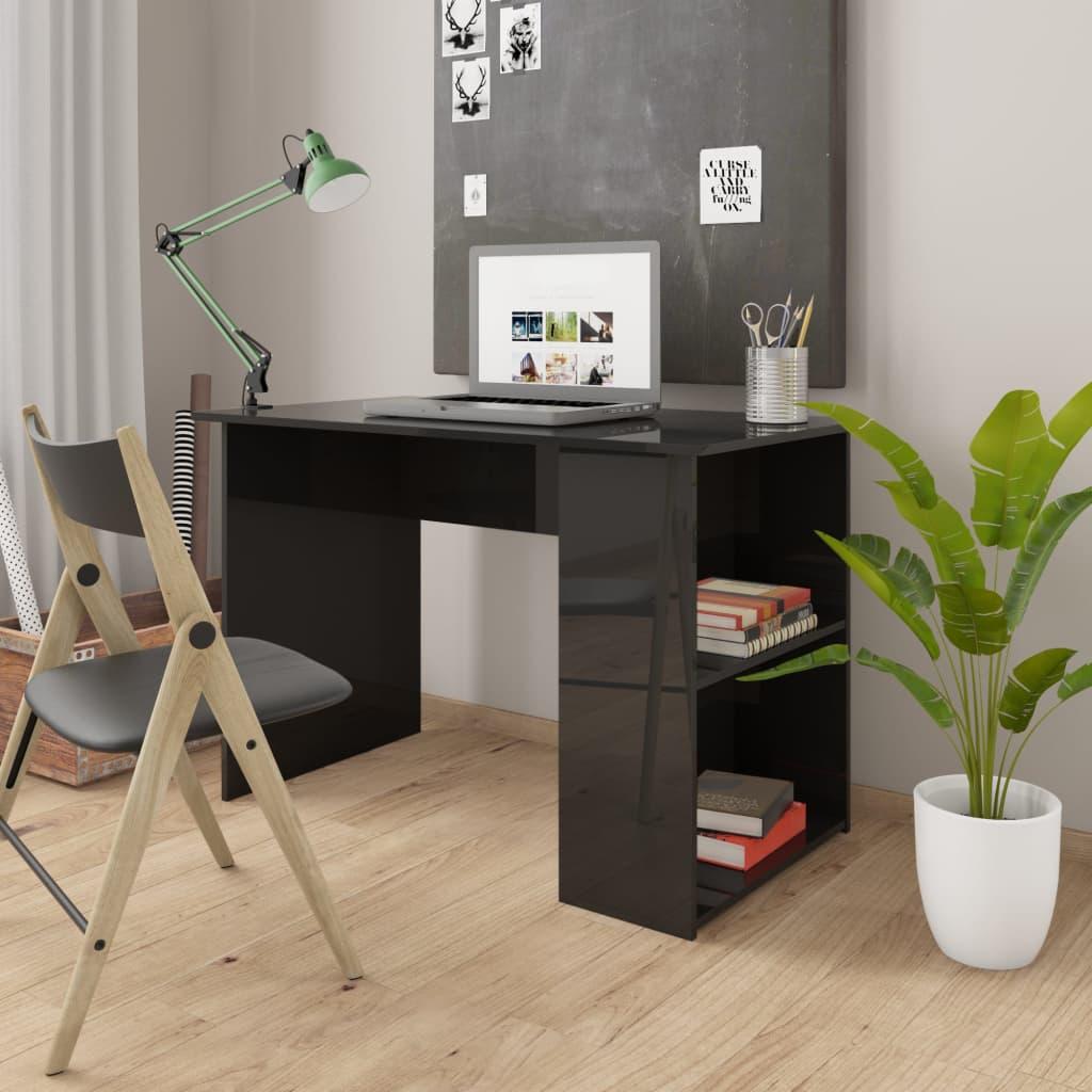 vidaXL Birou, negru extralucios, 110 x 60 x 73 cm, PAL vidaxl.ro