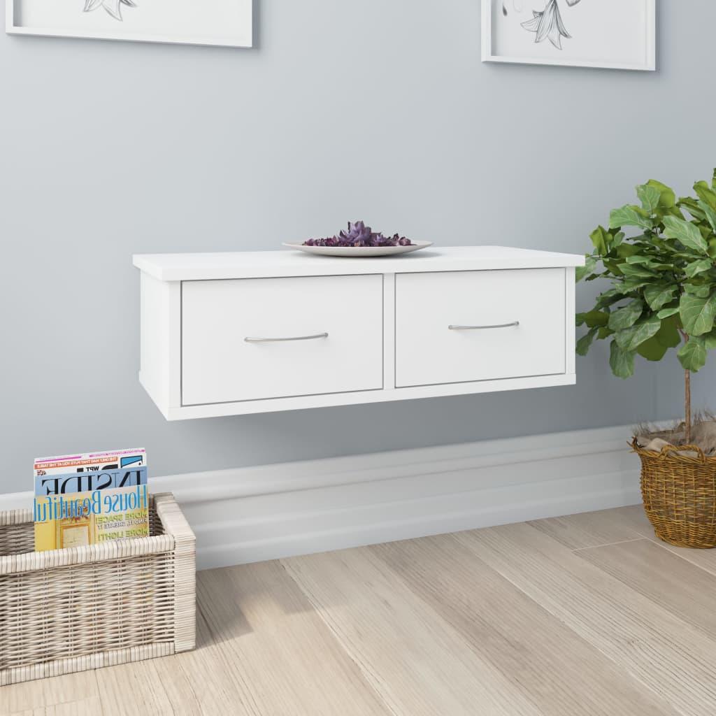 vidaXL Raft de perete cu sertar, alb, 60x26x18,5 cm, PAL imagine vidaxl.ro
