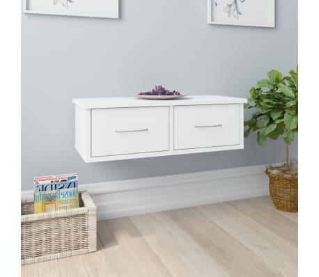 "vidaXL Wall-mounted Drawer Shelf White 23.6""x10.2""x7.2"" Chipboard[1/7]"