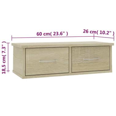 "vidaXL Wall-mounted Drawer Shelf Sonoma Oak 23.6""x10.2""x7.2"" Chipboard[7/7]"