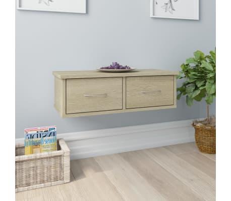 "vidaXL Wall-mounted Drawer Shelf Sonoma Oak 23.6""x10.2""x7.2"" Chipboard[1/7]"