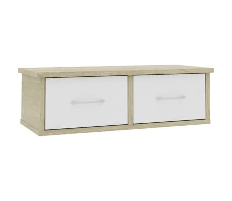 "vidaXL Wall-mounted Drawer Shelf White and Sonoma Oak 23.6""x10.2""x7.2"" Chipboard"