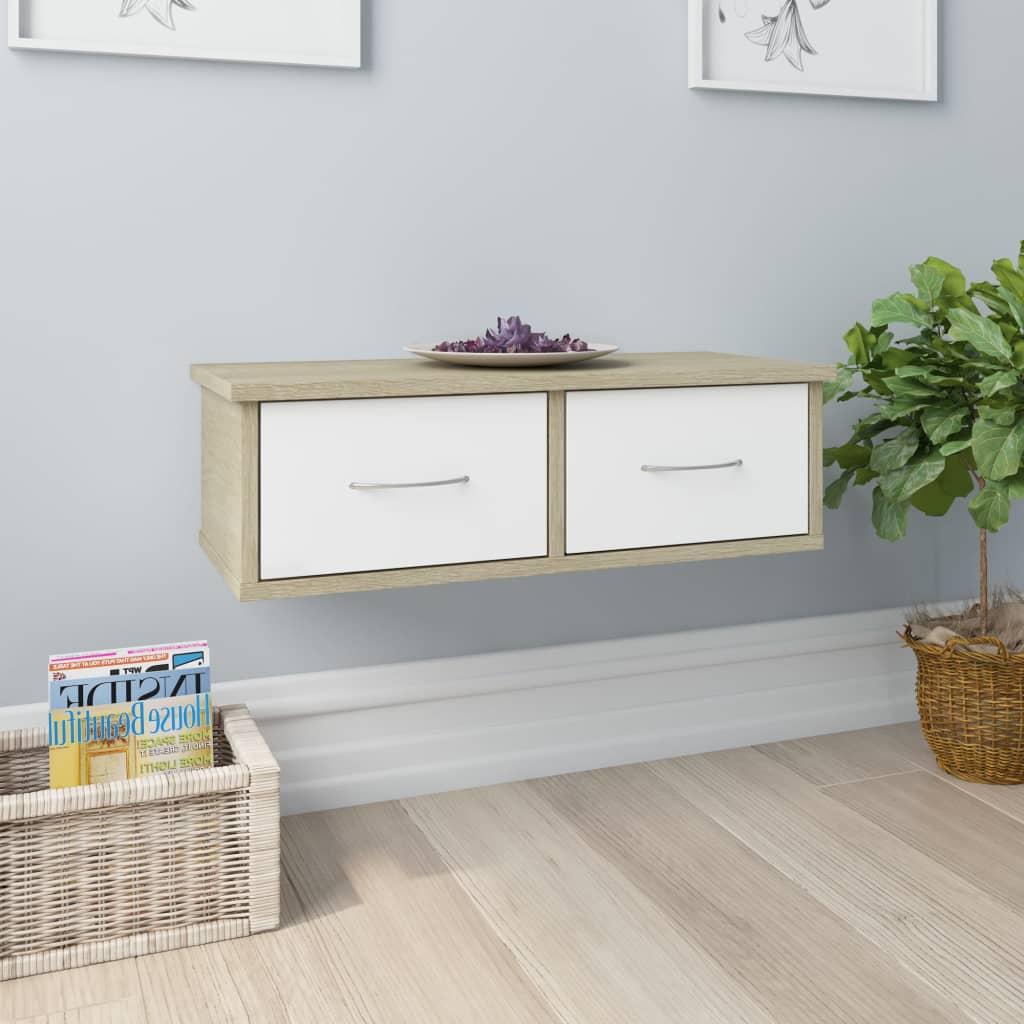 vidaXL Dulap de perete cu sertare, alb și stejar, 60x26x18,5 cm, PAL vidaxl.ro