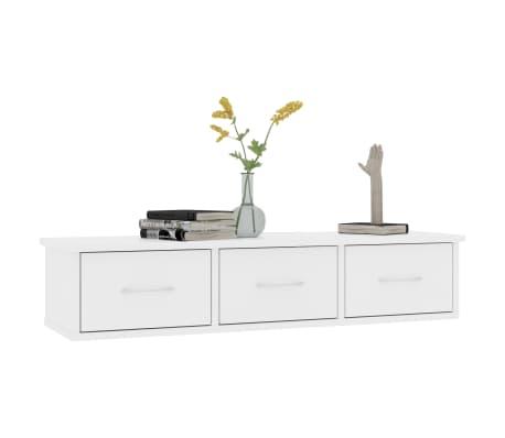 "vidaXL Wall-mounted Drawer Shelf White 35.4""x10.2""x7.2"" Chipboard[3/7]"