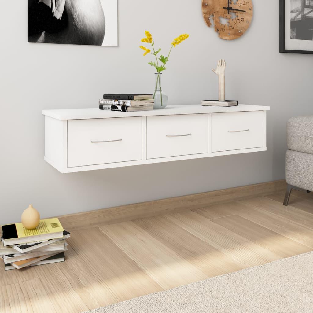 vidaXL Raft de perete cu sertare, alb, 88x26x18,5 cm, PAL poza vidaxl.ro