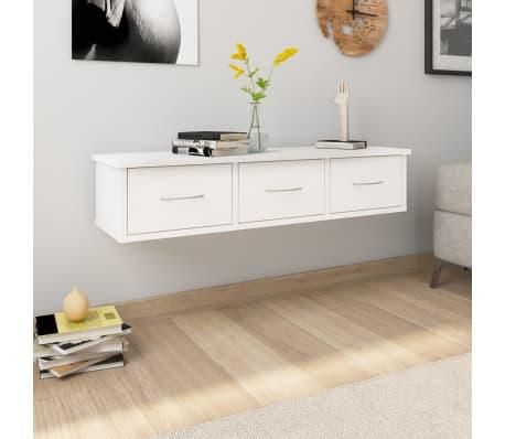 "vidaXL Wall-mounted Drawer Shelf White 35.4""x10.2""x7.2"" Chipboard[1/7]"