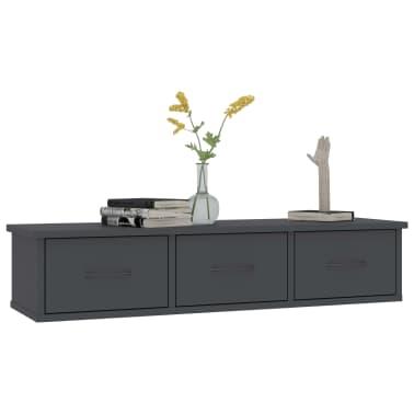 "vidaXL Wall-mounted Drawer Shelf Gray 35.4""x10.2""x7.2"" Chipboard[3/7]"