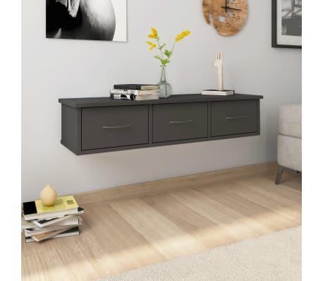 "vidaXL Wall-mounted Drawer Shelf Gray 35.4""x10.2""x7.2"" Chipboard[1/7]"