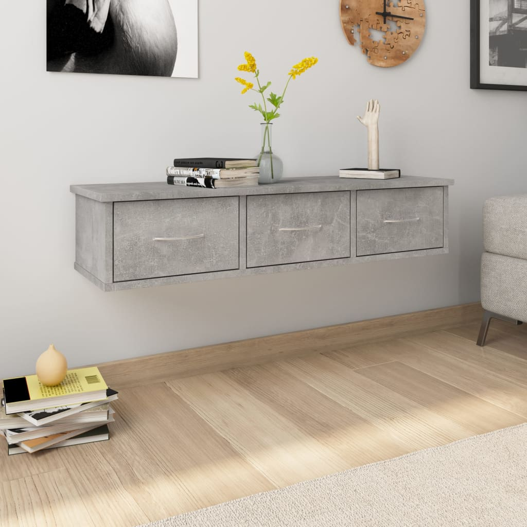 vidaXL Dulap de perete cu sertare, gri beton, 88x26x18,5 cm, PAL imagine vidaxl.ro