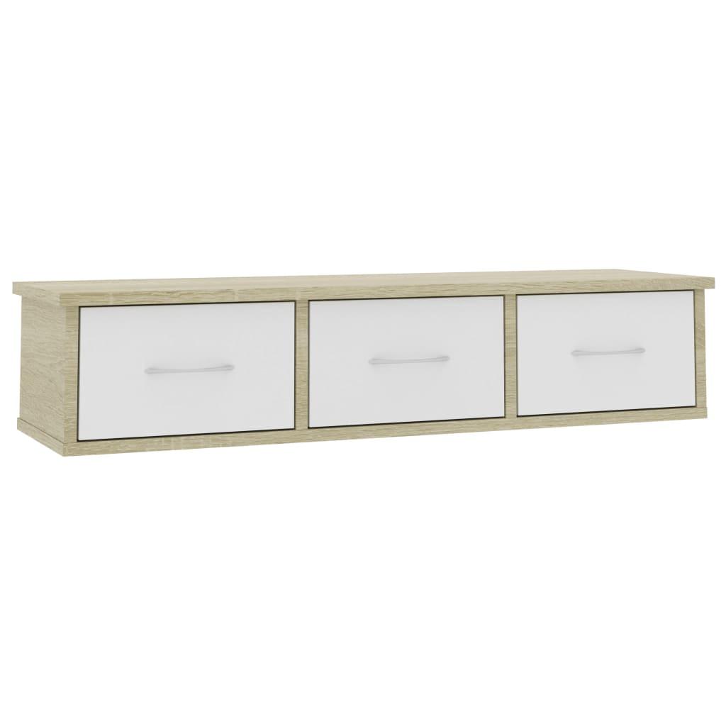 vidaXL Ράφι Τοίχου με Συρτάρια Λευκό/Sonoma 90x26x18,5 εκ. Μοριοσανίδα