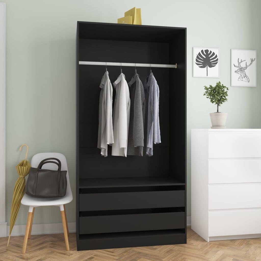 vidaXL Șifonier, negru, 100 x 50 x 200 cm, PAL vidaxl.ro