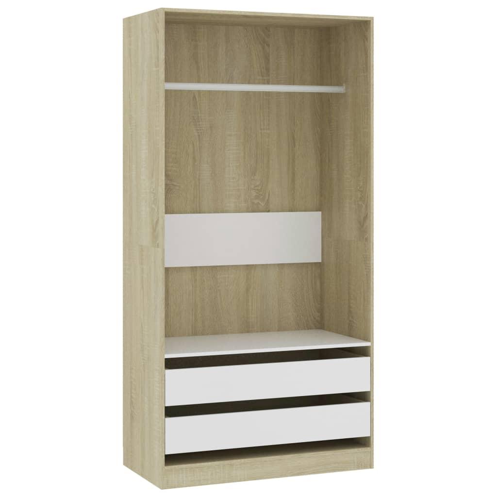 vidaXL Šatní skříň bílá a dub sonoma 100 x 50 x 200 cm dřevotříska