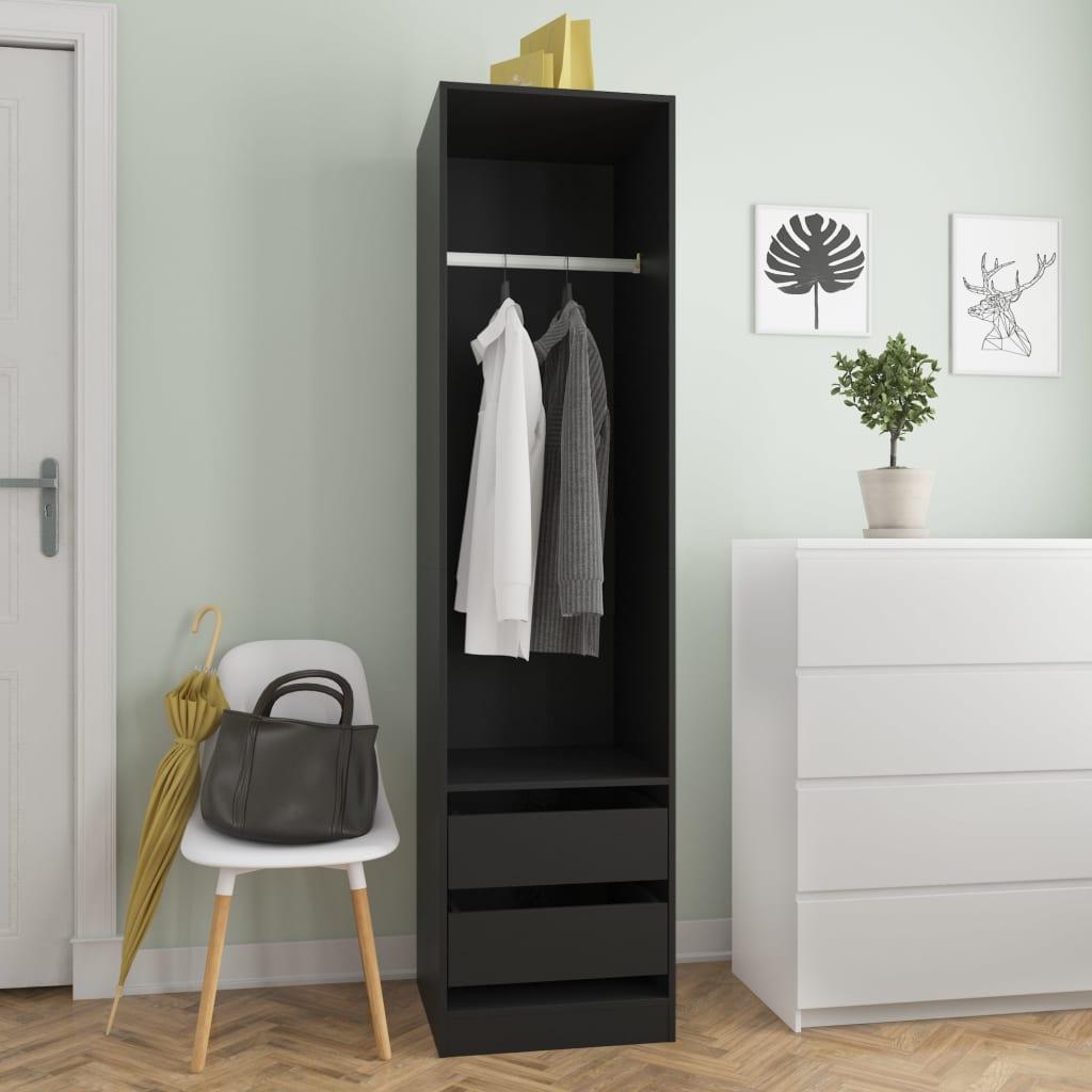 vidaXL Șifonier cu sertare, negru, 50 x 50 x 200 cm, PAL poza 2021 vidaXL
